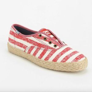 Keds Jute Trim Red Stripe Lace Up Sneakers